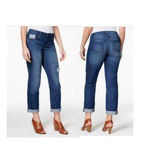 Style&co curvy fit boyfriend jeans sz 8 distressed